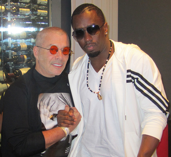 Leland with Puff Daddy, talkin' sneakers.