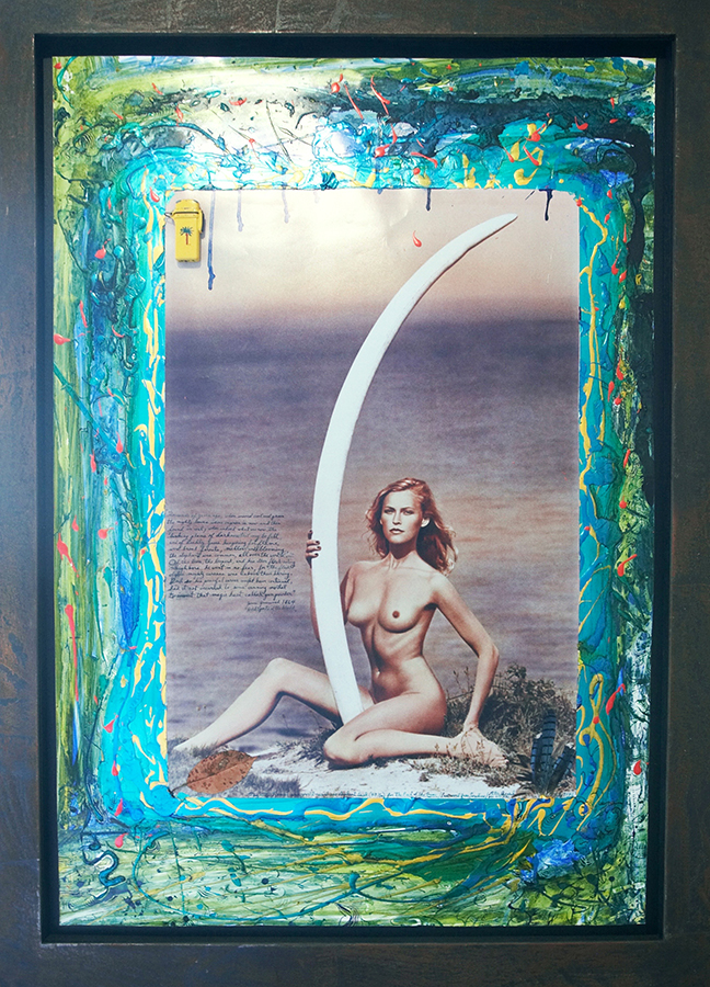 <h4> In the Leland Hirsch Private Collection<br><strong>PETER BEARD</strong><br><em>Magritte Ramme and World-Record Cow Elephant Tusk </em><br>1976<br>Color photograph with ink, acrylic, feathers and found objects<br>43 3/8 x 29 7/8 in.</h4>