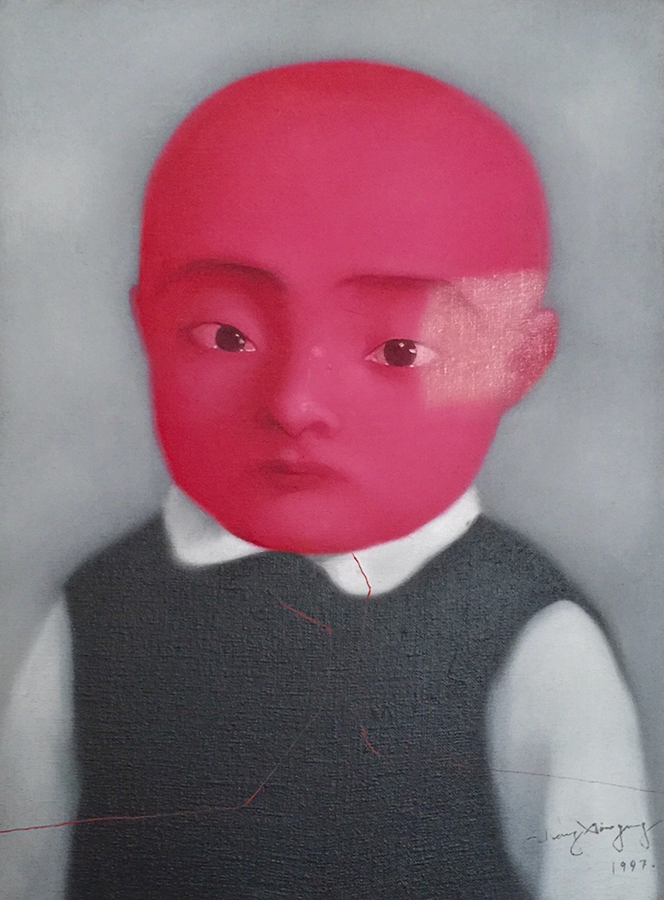 <h4>In the Leland Hirsch Private Collection<br><strong>ZHANG XIAOGANG </strong><br><em>Bloodline Series: Red Baby</em><br>Oil on Canvas<br>1997<br>15 3/4 x 11 3/4 in.</h4>